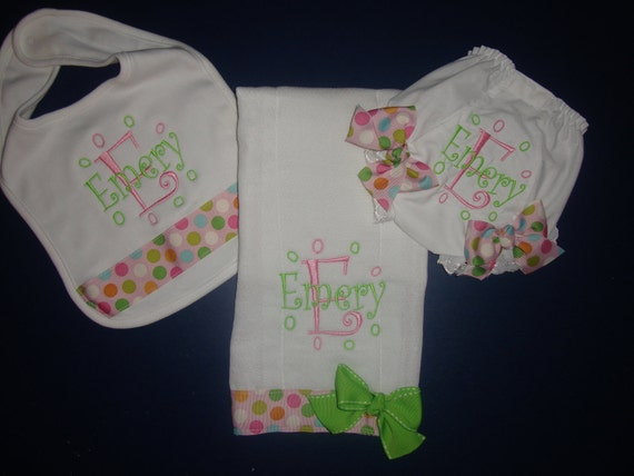 Baby Gift Set - Personalized Bib, Burp, and Diaper Cover with Embroidery or Monogram