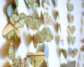 Vintage Map Hearts Garland  - 10, 15 or 30 feet long