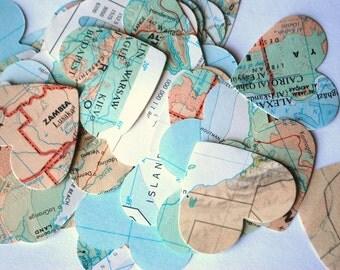 Vintage Map Heart Confetti, bulk quantity