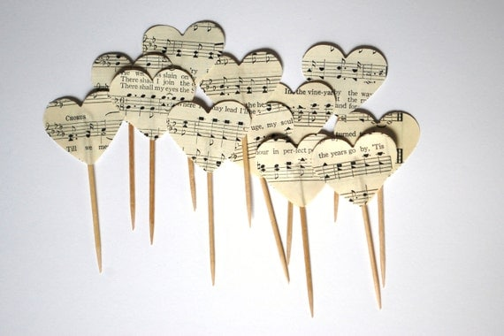 reserved for rgulden - 260 Heart Cupcake Picks, made from vintage music