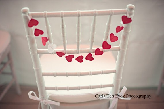Chair Garland - red with a single white heart, custom colors available