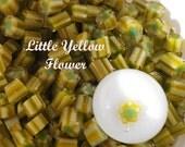 Handmade picture murrini, lampwork supplies,  Little Yellow Flower CoE 104 glass