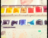 Colorful watercolors in box with black border - 5x5 Fine Art Photo