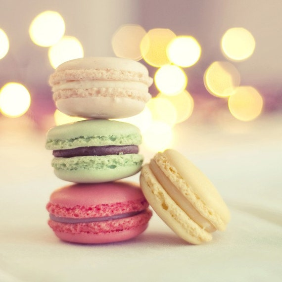 Macaroons in Pastel and Bokeh Background - 5x5 Fine Art Photo
