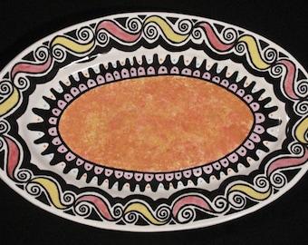 Serving Platter with Orange Medallion