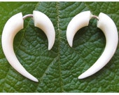 Fake Gauges, Fake Plugs, Handmade Bone Earrings, Tribal Style - Small Hooks