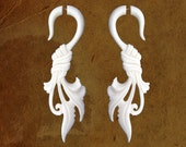 Fake Gauges - Wrapped Feather Bone Earrings