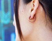 Fake Gauges, Fake Plugs, Handmade Wood Earrings, Tribal Style - Small Spirals Tan