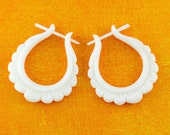 Post Earrings, Handmade Bone, Tribal Style, Stick Earrings  - Flower Hoops
