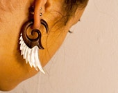 Fake Gauges, Handmade, Wood Earrings, Cheaters, Organic, Plugs, Split, Tribal Style - Angel Shell Wings Wood