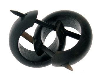 Wood Earrings - Small Black Hoops