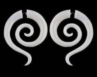 SALE! Limited Fake Gauges, Handmade, Bone Earrings, Cheaters, Organic, Plugs, Split, Tribal Style - Sunsation Spirals Bone