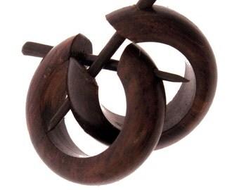 Wood Earrings - Small Brown Hoops 1