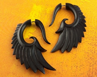 Fake Gauges, Handmade, Horn Earrings, Cheaters, Organic, Plugs, Split, Tribal Style - Nava Wings Horn
