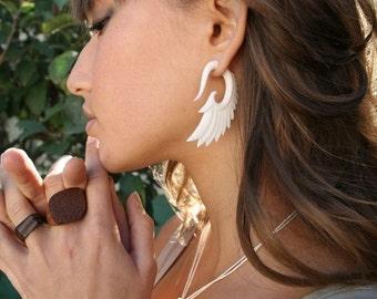 Fake Gauges, Fake Plugs, Handmade Bone Earrings, Tribal Style - Nava Wings Bone