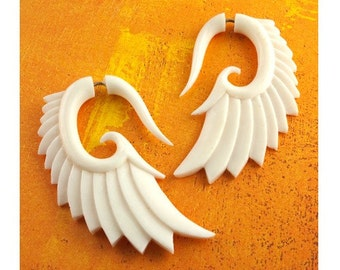 Fake Gauges, Handmade, Bone Earrings, Cheaters, Organic, Plugs, Split, Tribal Style - Nava Wings Bone