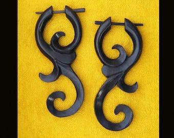 Wooden Earrings - Ma'ayan Curls Post Earrings - Dark Brown 1