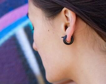 Horn Earrings, Fake Gauges, Tribal Style - Small Black Hoops - Post Earrings 2
