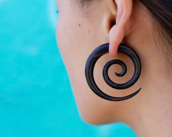 Fake Gauges, Handmade, Wood Earrings, Cheaters, Organic, Plugs, Split, Tribal Style - Double Spirals Large Iron Wood