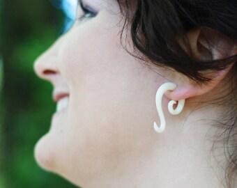 Fake Gauges, Fake Plugs, Handmade Bone Earrings, Tribal Style -  Inaya Curls
