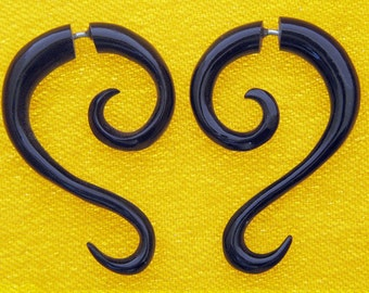 Fake Gauges, Fake Plugs, Handmade Horn Earrings, Tribal Style -  Inaya Spirals