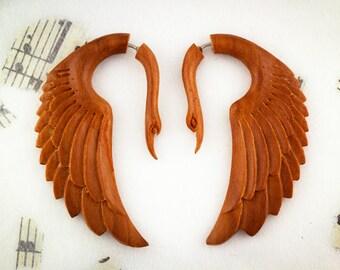 Fake Gauges, Handmade, Wood Earrings, Cheaters, Organic, Plugs, Split, Tribal Style -Fatima Swans Tan Wood