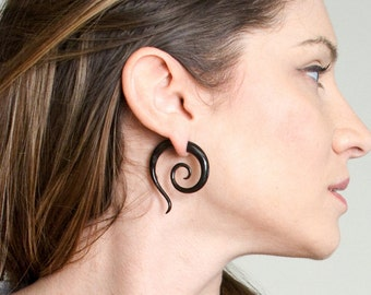 Fake Gauges, Fake Plugs, Handmade Horn Earrings, Tribal Style - Sunsation Spirals