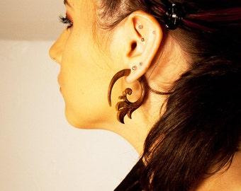 Fake Gauges, Handmade, Wood Earrings, Cheaters, Organic, Plugs, Split, Tribal Style - Blooming Curls Brown Wood