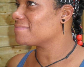 Fake Gauges, Fake Plugs, Gypsy, Handmade Wood Earrings, Tribal Style - Ironwood Talons Small