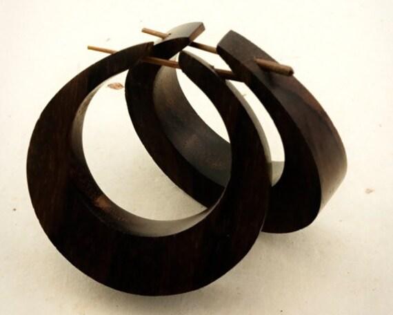 Sale - Wood Post Earrings - Dahni Hoops Lrg/Brown 1