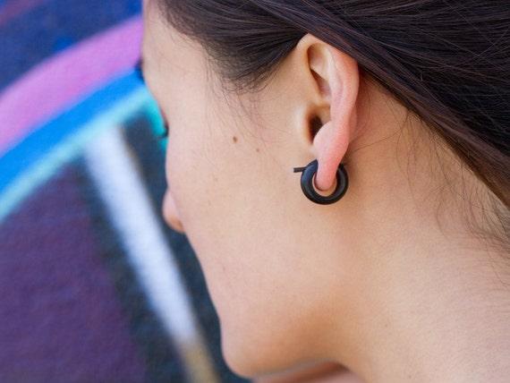 Horn Earrings, Fake Gauges, Tribal Style - Small Black Hoops - Post Earring