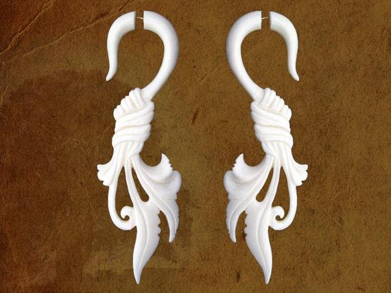 Fake Gauges, Fake Plugs, Handmade Bone Earrings, Tribal Style - Wrapped Feather