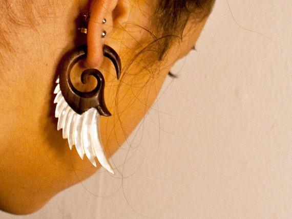 Fake Gauges, Handmade, Wood Earrings, Cheaters, Organic, Plugs, Split, Tribal Style - Angel Shell Wings Wood