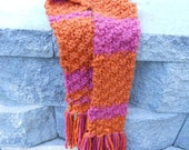 Chunky Orange and Fuschia Striped Scarf