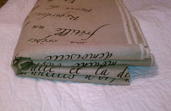 Free Shipping...French Script Painted (1yard) 36H X 57W of Heavy Cotton Upholstery  Fabric
