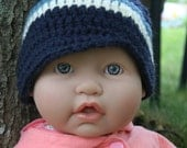 Newborn-Striped Beanie with Brim-Navy Blue with Blue and Off White Stripes
