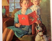 Vintage Calendar Print Mother and Child A Bedtime Story