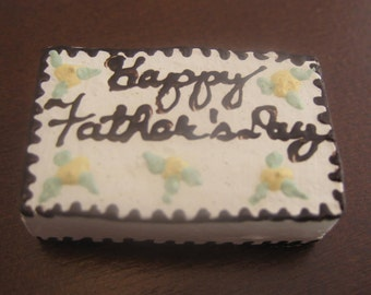Miniature Fathers Day Cake Dollhouse Party Food Dessert