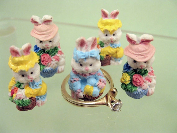 Mini Easter Bunny Figurines Miniature Craft Collectibles