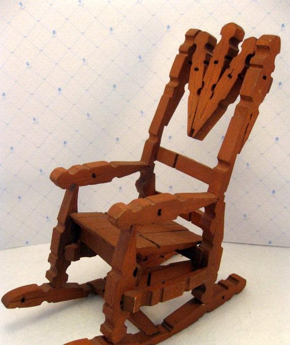 Red Rocking Chair Folk ~ Vintage clothespin rocking chair toy folk art
