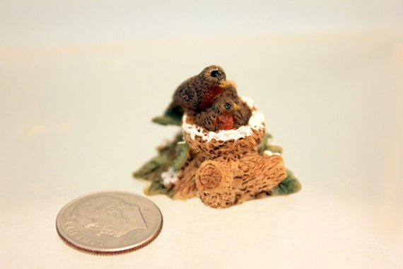 Miniature Birds in Nest Dollhouse Fairy Garden Collectible