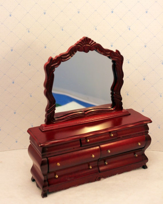 Dollhouse Dresser Chest w Mirror Miniature Furniture