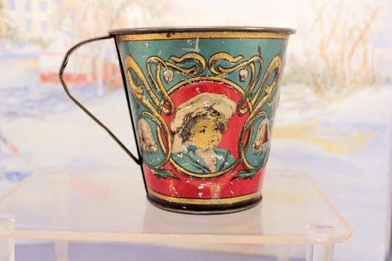 Antique Tin Litho Childs Cup Dutch Girl and Boy