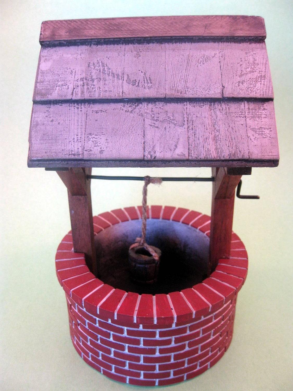 Red Brick Wishing Well Fairy Miniature Dollhouse Garden