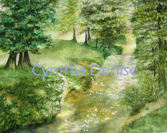 Forest Stream, Print of Original Watercolor Painting, Woodland Landscape, Creek Painting, Home Decor,  Wall Decor, Art  by Sweetnola