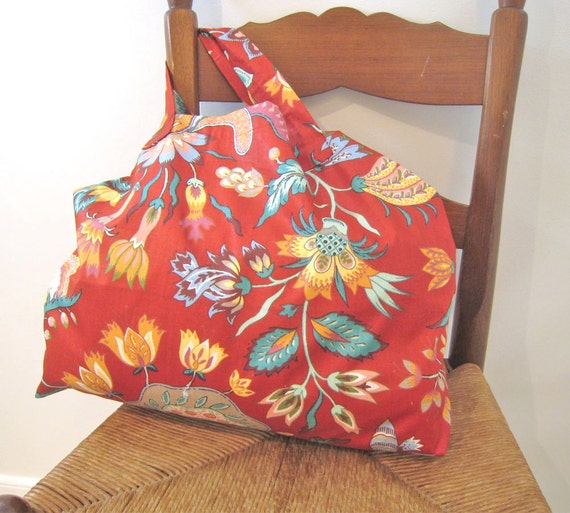 Womens Shoulder Bag...Red...Large Tote....Toy Bag....Eco Friendly Bags....Handmade by Sweetnola