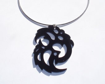 Black Plexiglas Tribal Swirl