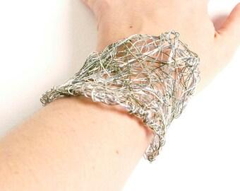 25% off SALE Silver Wire Cuff Bracelet