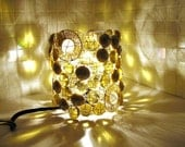 Champagne Gold, Brass and Tan Glass Bead Light