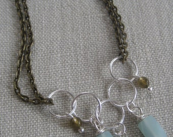 Brass and Sterling Necklace--Opposites Do Attract